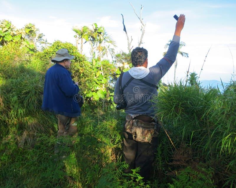 Geluid afspelen in El Dorado Bird Reserve, Santa Marta; Tape play-back at Fundación ProAves reserve royalty free stock images