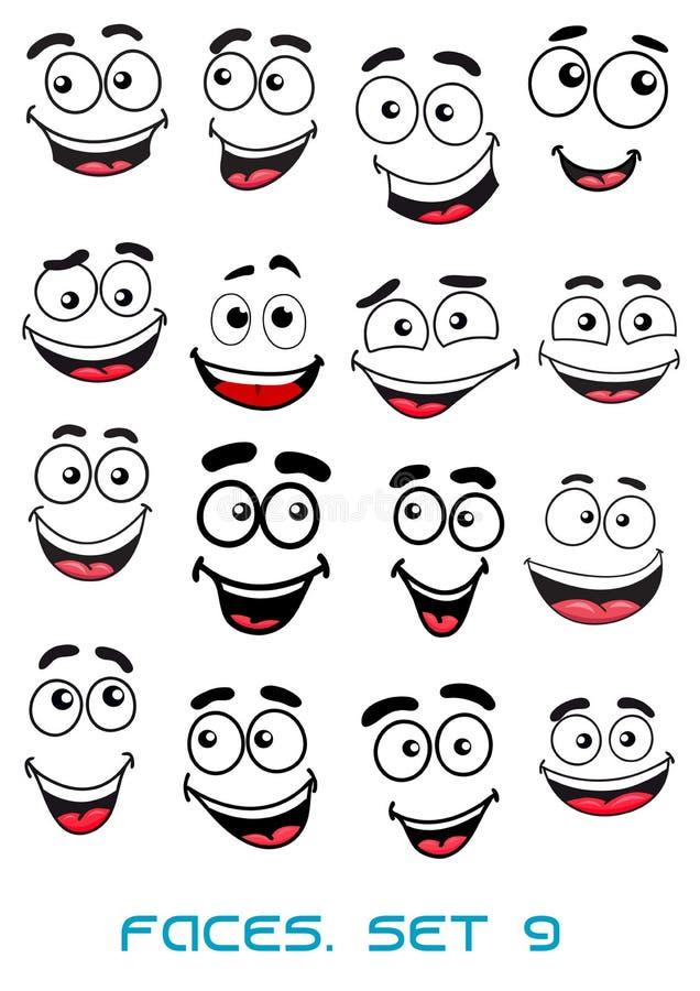 Geluk en het glimlachen mensengezichten stock illustratie