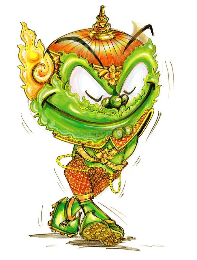 Geluk en het lopen Thais Reuzebeeldverhaal vector illustratie