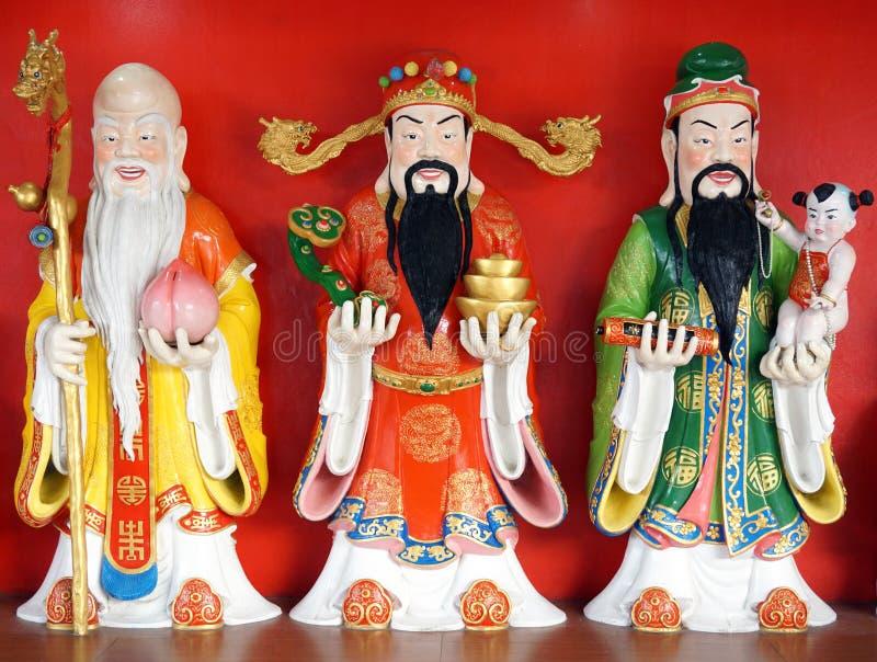 Geluk (Fu, Hok), Welvaart (Lu, Lok), en Levensduur (Shou, Siu) standbeeld stock foto