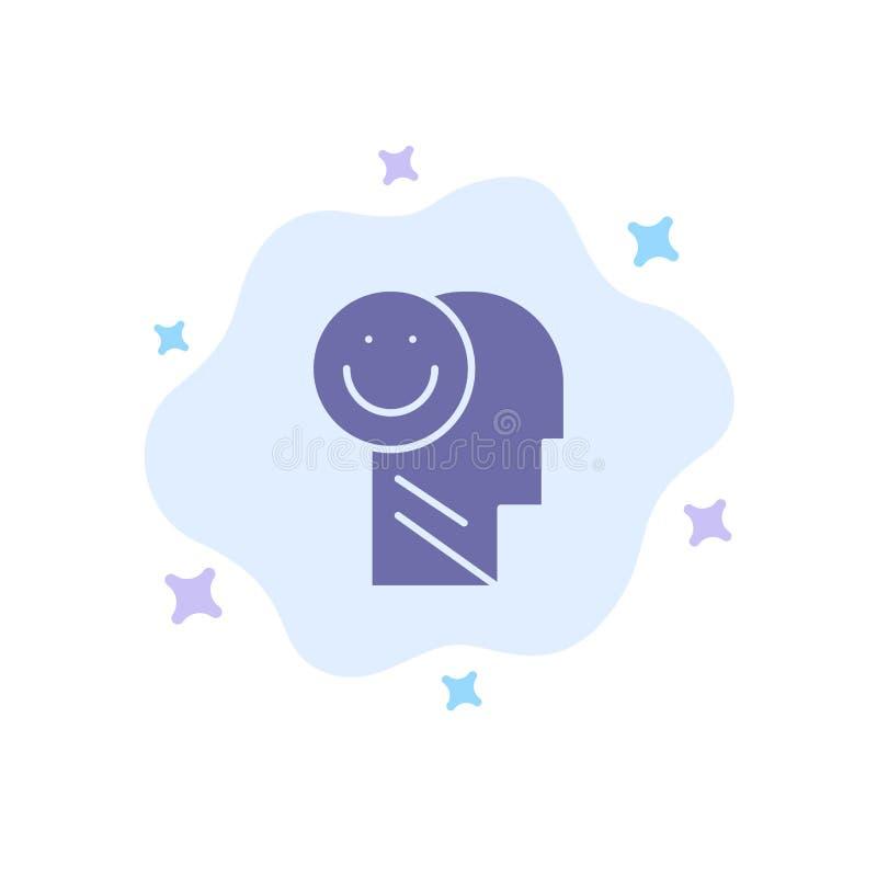 Geluk, Gelukkig, Menselijk, het Leven, Optimisme Blauw Pictogram op Abstracte Wolkenachtergrond stock illustratie