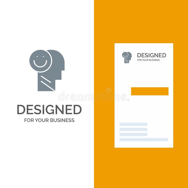 Geluk, Gelukkig, Menselijk, het Leven, Optimisme Grey Logo Design en Visitekaartjemalplaatje royalty-vrije illustratie