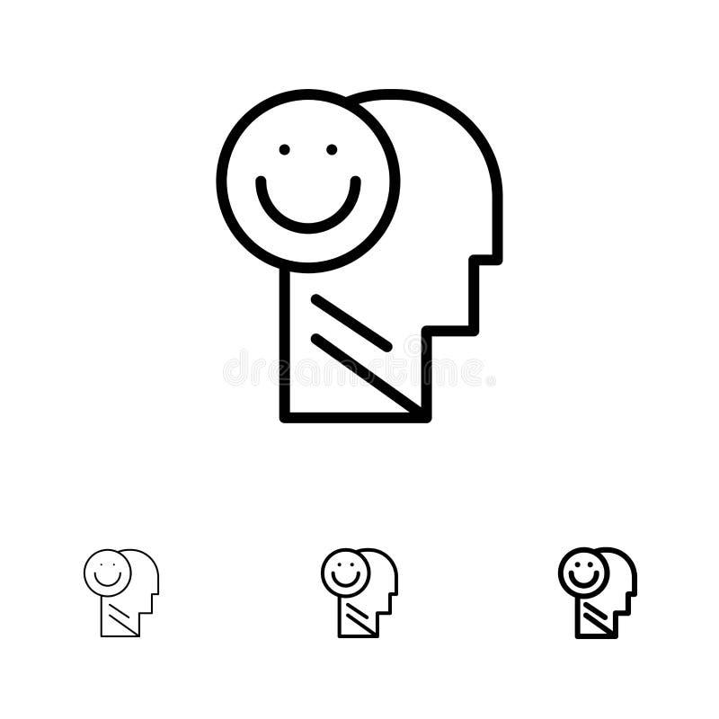 Geluk, Gelukkig, Menselijk, het Leven, het pictogramreeks van de Optimisme Gewaagde en dunne zwarte lijn royalty-vrije illustratie