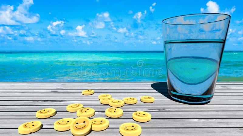 Gelukgeneeskunde voor droefheid, slechte stemming, depressie - perfectioneer tropische vakantie stock foto's