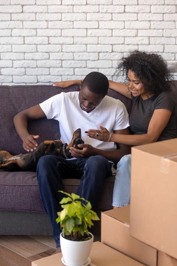 Gelukkig Afrikaans Amerikaans paar met hond die zich enkel in nieuw huis bewegen stock afbeelding