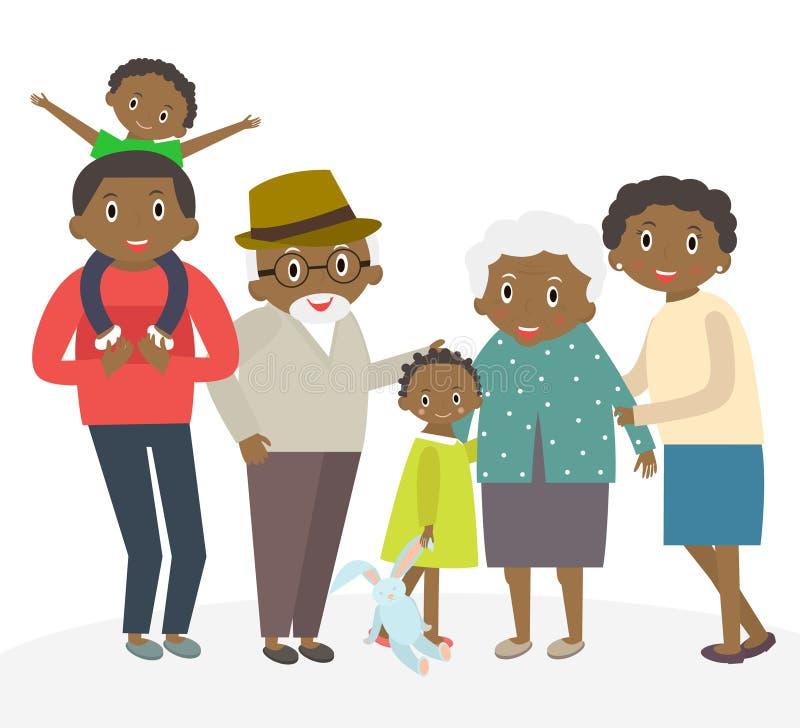 Gelukkig Afrikaans familieportret Vader en moeder, zoon en dochter, grootouders in één beeld samen stock illustratie