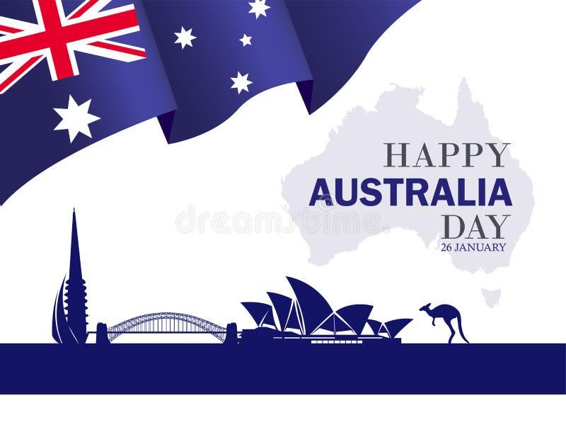 Gelukkig Australië dag 26 de feestelijke achtergrond van januari stock illustratie