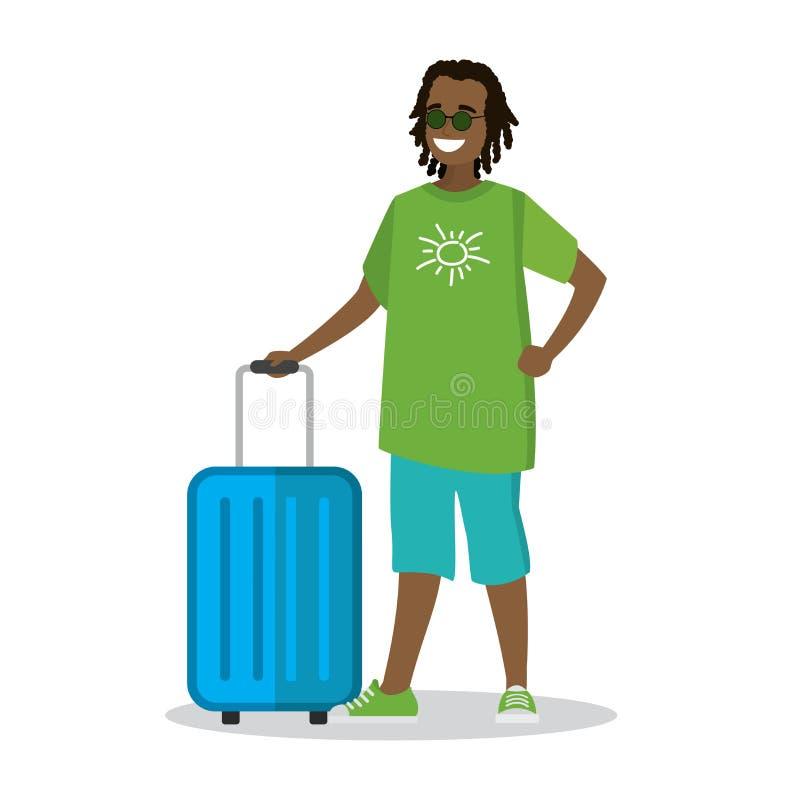 Gelukkig beeldverhaal Afrikaans Amerikaans mannetje in strandkleren met suitca vector illustratie