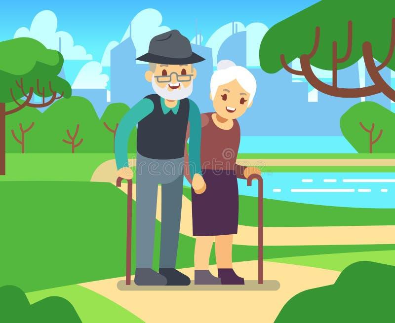Gelukkig beeldverhaal ouder wijfje in liefde in openlucht Oud paar in park vectorillustratie stock illustratie