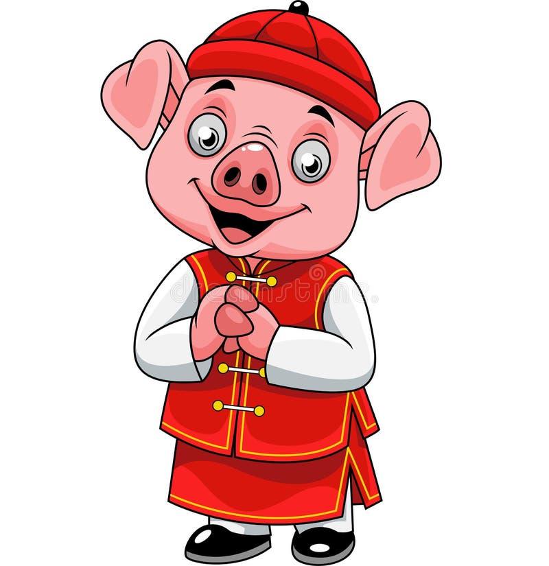 Gelukkig beeldverhaal weinig varken met traditioneel Chinees kostuum vector illustratie