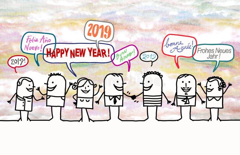 Gelukkig Beeldverhaalmensen en Nieuwjaar 2019 vector illustratie