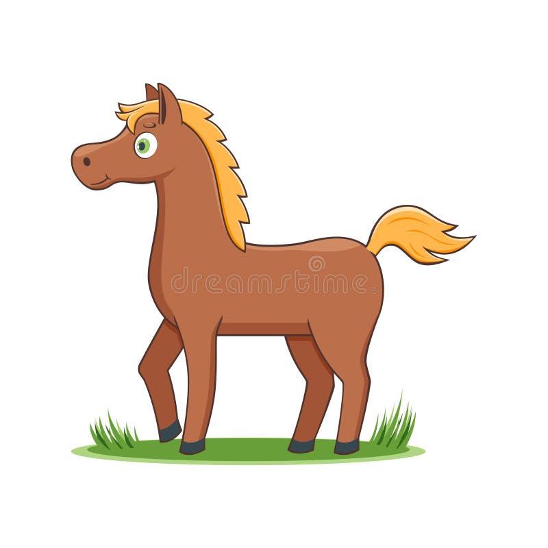 Gelukkig Beeldverhaalpaard royalty-vrije illustratie