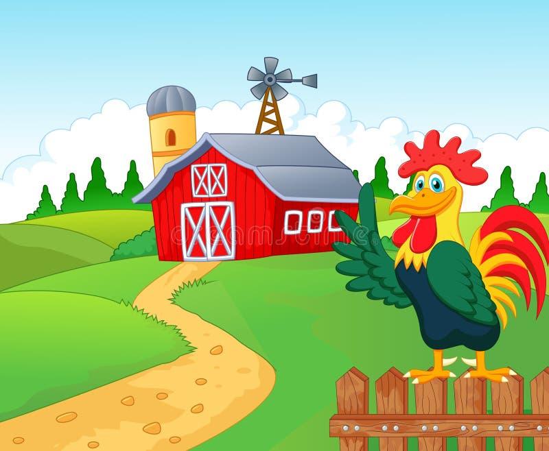 Gelukkig beeldverhaalrooster in het landbouwbedrijf royalty-vrije illustratie