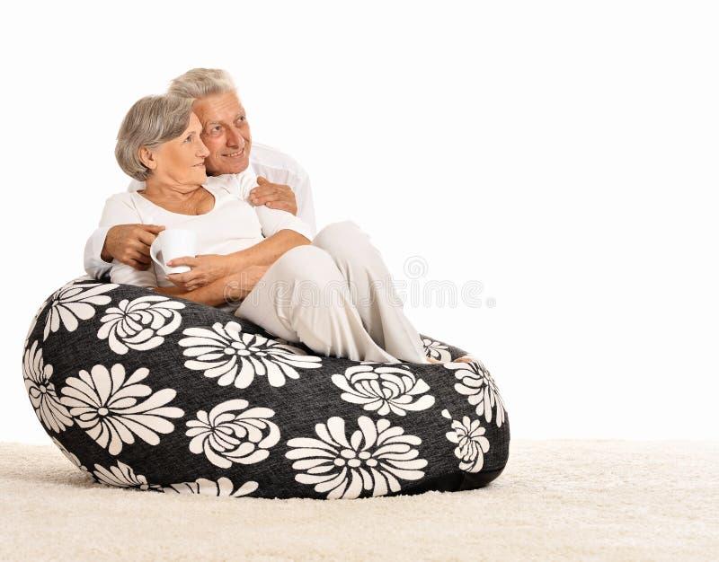 Gelukkig bejaard paar royalty-vrije stock foto