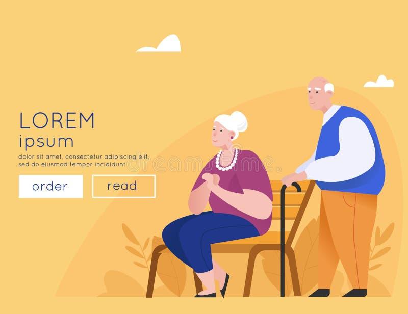 Gelukkig bejaard paar op een parkbank Hogere mensen die zich met stokken bevinden Oude dag Grootvader en Grootmoeder Vlakke Vecto royalty-vrije illustratie