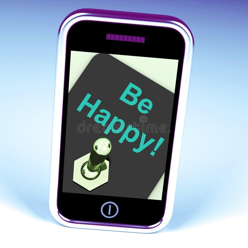 Gelukkig ben de Telefoon Geluk of Plezier toont royalty-vrije illustratie