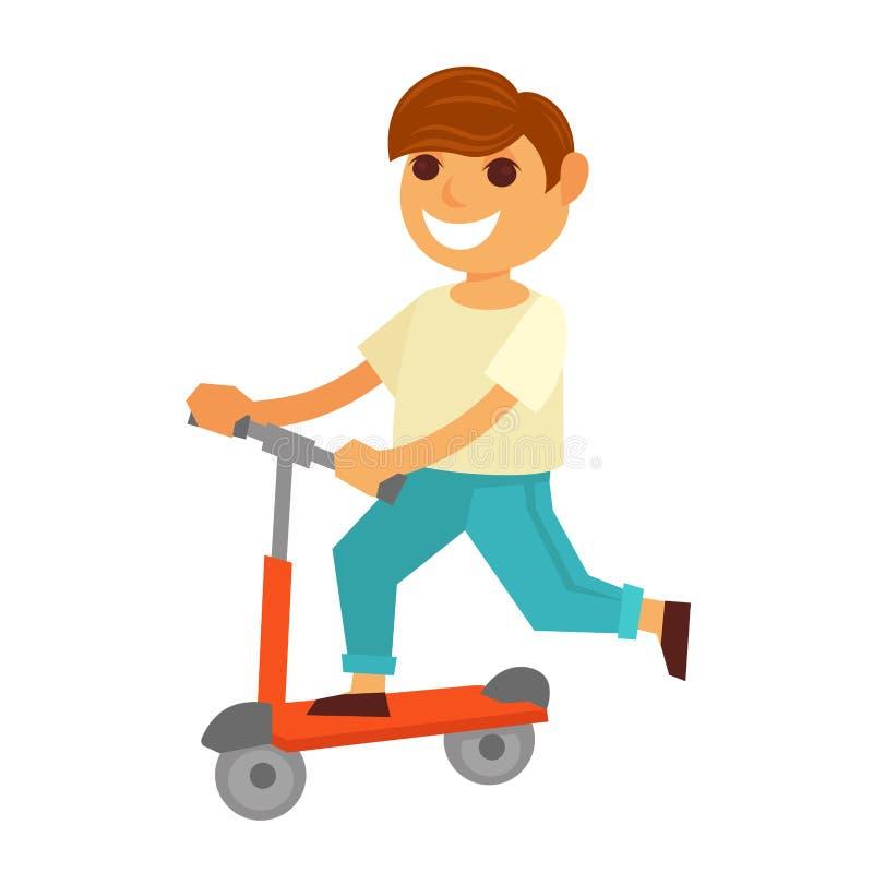Gelukkig berijdt weinig jongen schopautoped geïsoleerde illustratie stock illustratie
