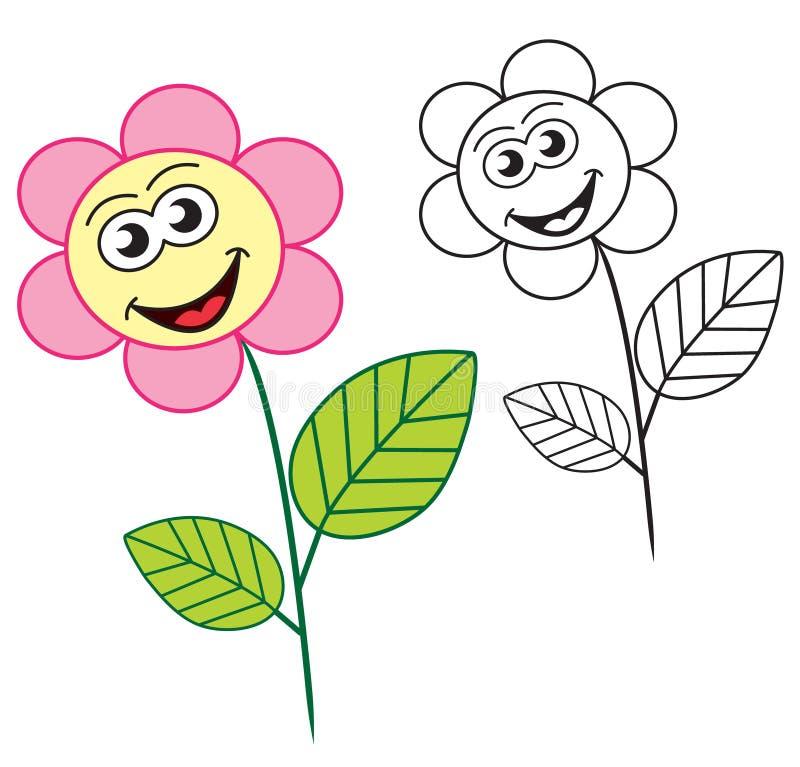 Gelukkig bloembeeldverhaal royalty-vrije illustratie