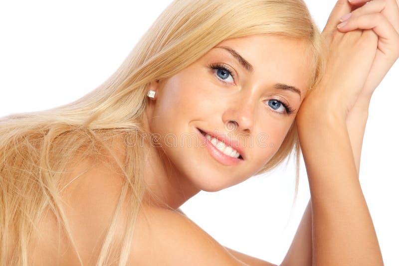 Gelukkig blond meisje stock afbeeldingen