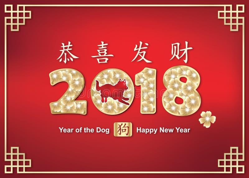 Gelukkig Chinees de Lentefestival/Jaar van de Hond! - rode achtergrond stock illustratie