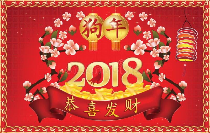 Gelukkig Chinees de Lentefestival/Nieuwjaar van de Hond! - rode groetkaart royalty-vrije illustratie