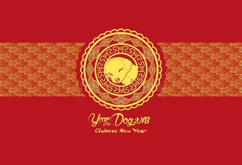 Gelukkig Chinees nieuw jaar en jaar van hondkaart met gouden honden in bloemcirkel royalty-vrije illustratie