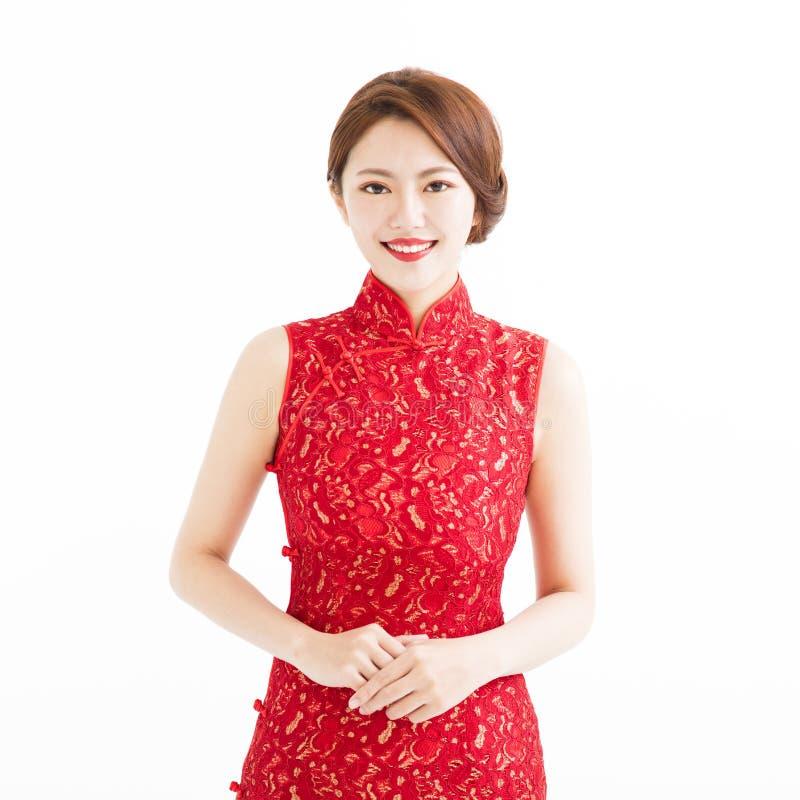 Gelukkig Chinees nieuw jaar, mooie glimlachende jonge vrouw stock fotografie