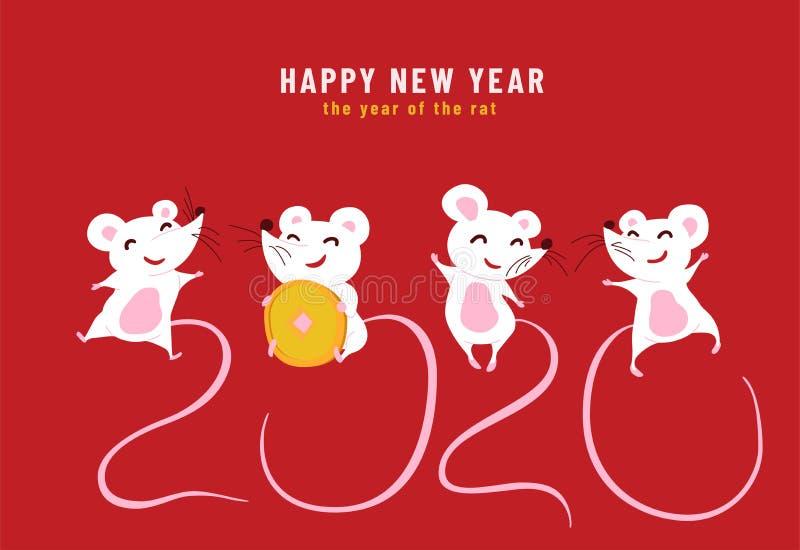 2020 Gelukkig Chinees Nieuwjaar, het jaar van de rat. Ontwerpconcept van een grappige wenskaart met leuke tekens en royalty-vrije illustratie