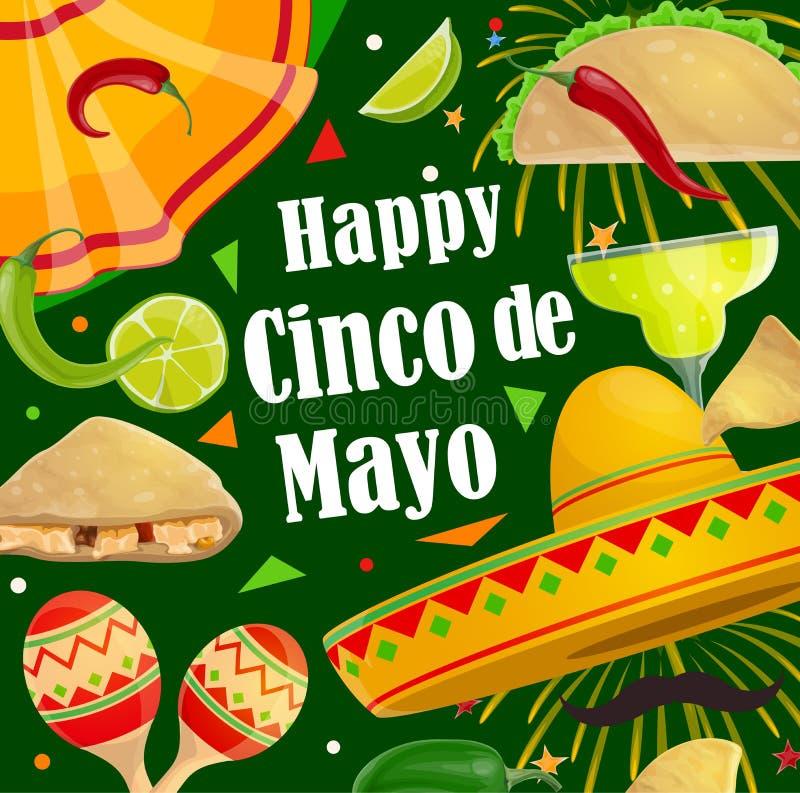 Gelukkig Cinco de Mayo-de fiestavuurwerk van de vakantiepartij vector illustratie