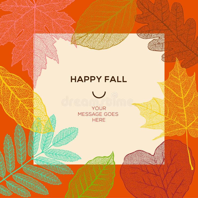 Gelukkig dalingsmalplaatje met de herfstbladeren en eenvoudige teksten royalty-vrije illustratie