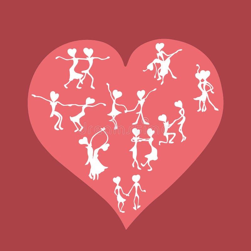 Gelukkig dansend die paar tegen de achtergrond van het hart wordt getrokken stock foto's