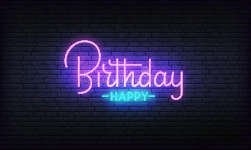Gelukkig de banner vectormalplaatje van het Verjaardagsneon Gloeiend nacht helder van letters voorziend teken voor Verjaardagsvie stock illustratie