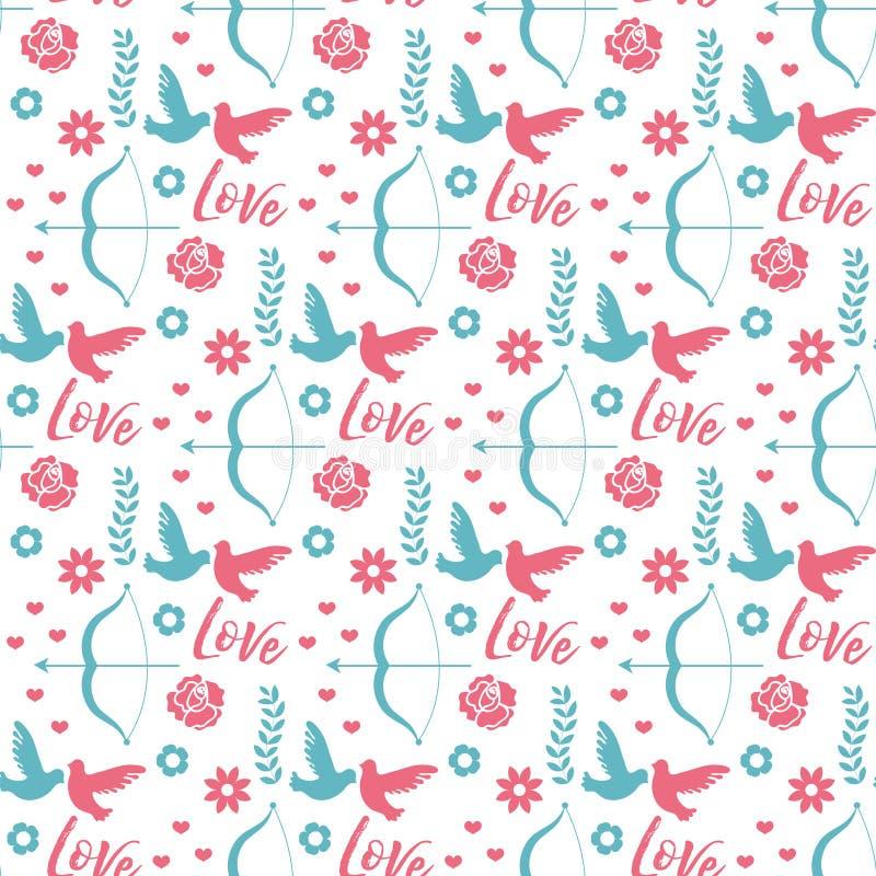 Gelukkig de Dag naadloos patroon van Valentine s Leuke romantische liefde eindeloze achtergrond Hart die textuur herhalen Vector stock illustratie
