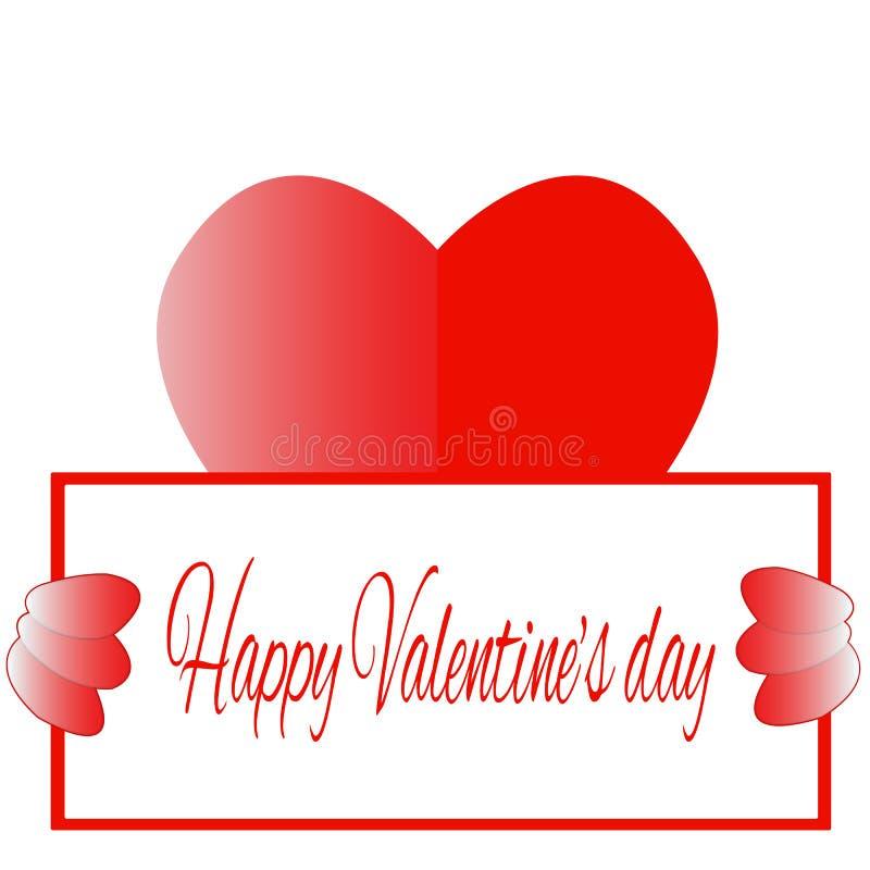 Gelukkig de dag rood hart van Valentine ` s royalty-vrije illustratie