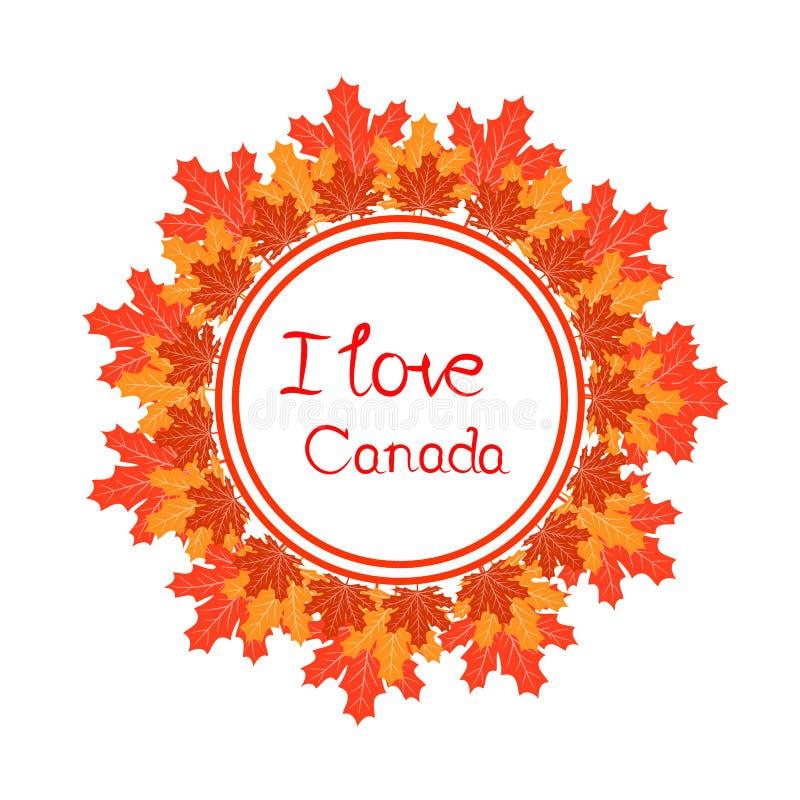 Gelukkig de dag vectormalplaatje van Canada met esdoornbladeren stock illustratie