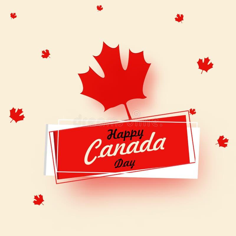 Gelukkig de Dagontwerp van Canada met rode esdoornbladeren op beige backgroun vector illustratie