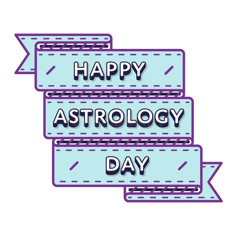 Gelukkig de groetembleem van de astrologiedag royalty-vrije illustratie