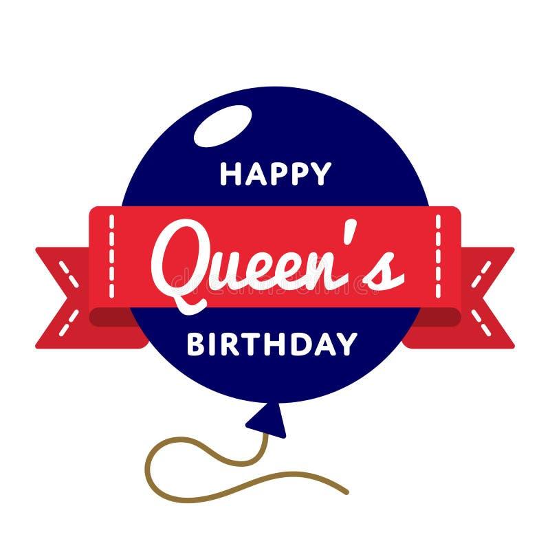 Gelukkig de groetembleem van de Queensverjaardag royalty-vrije stock fotografie
