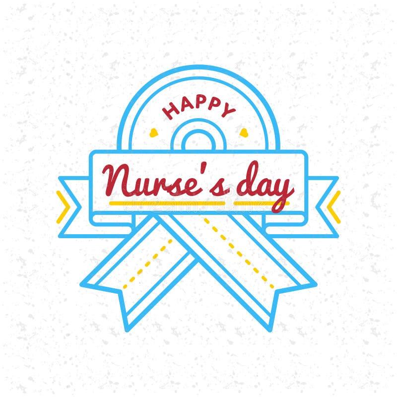 Gelukkig de groetembleem van de Verpleegstersdag stock afbeelding