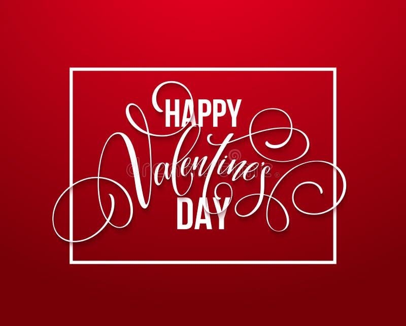 Gelukkig de Handtekening van de Valentijnskaartendag het Van letters voorzien ontwerp Vector illustratie vector illustratie
