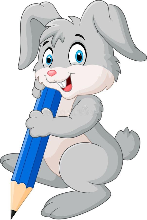 Gelukkig de holdingspotlood van het konijnbeeldverhaal vector illustratie