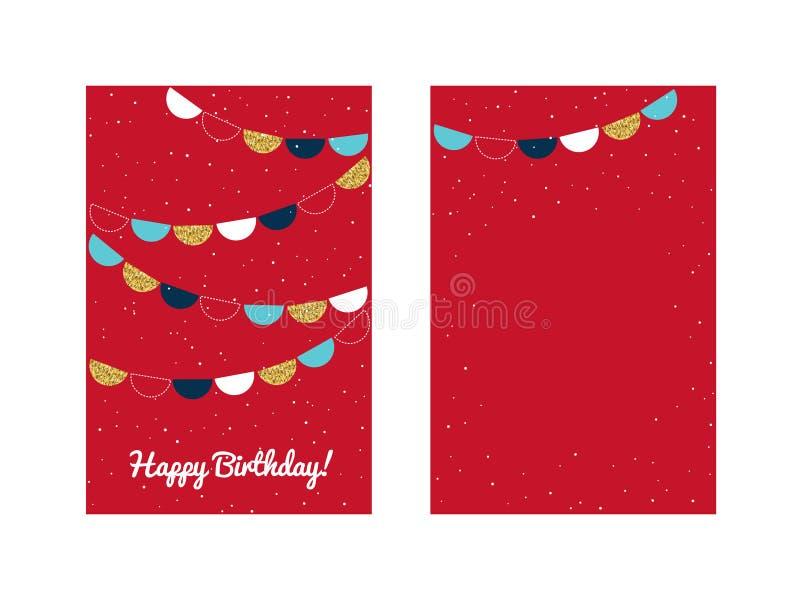 Gelukkig de kaartmalplaatje van de verjaardagsgroet vector illustratie
