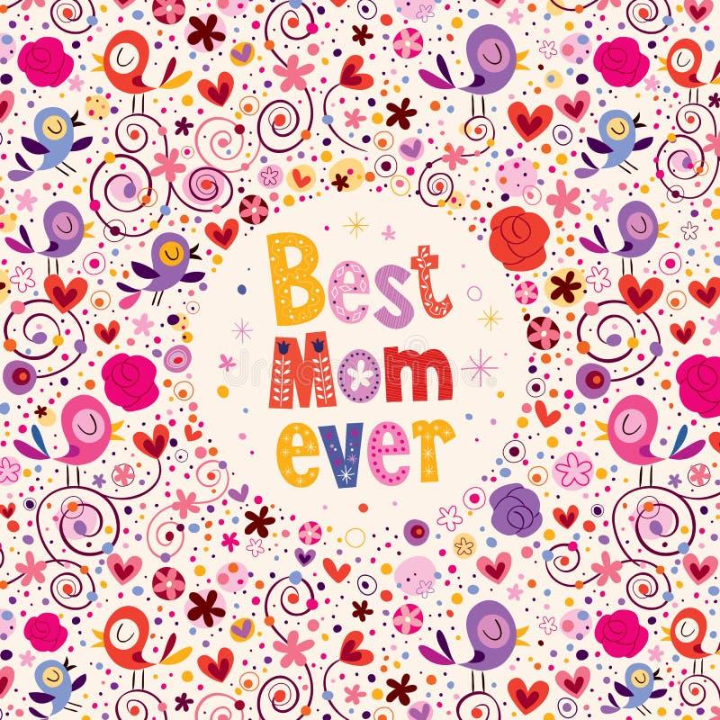 Gelukkig de kaartontwerp van de Moedersdag met vogels, harten en bloemen Beste Mamma ooit stock illustratie