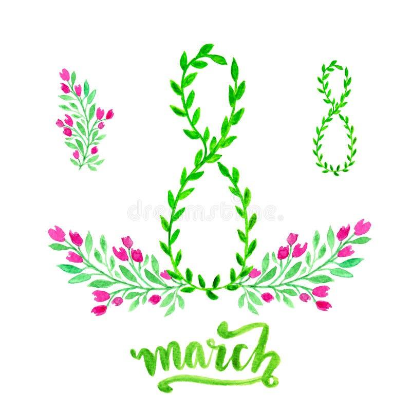 Gelukkig de kaartontwerp van de vrouwendag met modieuze teksten 8 Maart en bloemen verfraaide achtergrond De Dagviering van inter stock illustratie