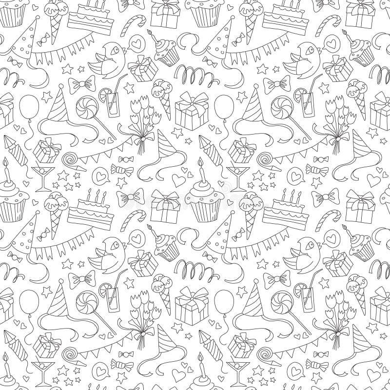 Gelukkig de krabbel zwart-wit naadloos patroon van de verjaardagspartij vector illustratie