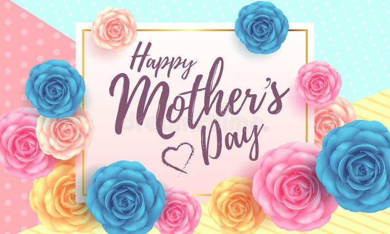 Gelukkig de lay-outontwerp van de moeder` s dag met bloemenachtergrond stock illustratie
