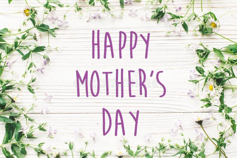 Gelukkig de tekstteken van de moeder` s dag De kaart van de groet zacht roze lilac F royalty-vrije stock foto's