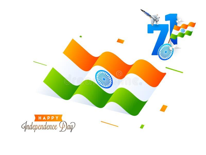 Gelukkig de Vieringsconcept van de Onafhankelijkheidsdag met Indische Vlag Wavi stock illustratie