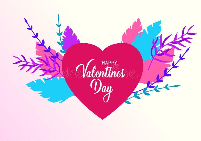 Gelukkig die de kaartenmalplaatje van de Valentijnskaartendag met in liefde in hart op een kleurrijke abstracte achtergrond wordt royalty-vrije illustratie
