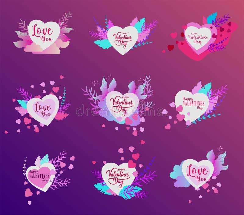 Gelukkig die de kaartenmalplaatje van de Valentijnskaartendag met in liefde in hart op een kleurrijke abstracte achtergrond wordt vector illustratie